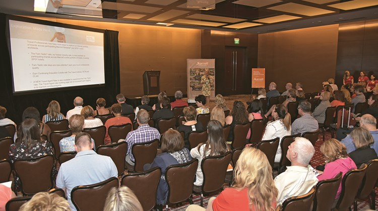 Over 100 top-producing travel adviser attendees hear from Cynthia Perry of Marriott International during GTM West orientation.