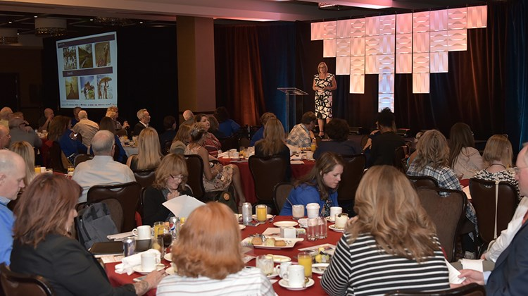 GTM West attendees hear from Mary Dring of Delta Vacations during breakfast on Wednesday morning at GTM West.