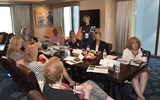 Gladys Lyons of Regent Seven Seas Cruises informs travel advisers of what's new with the brand during a Boardroom presentation.