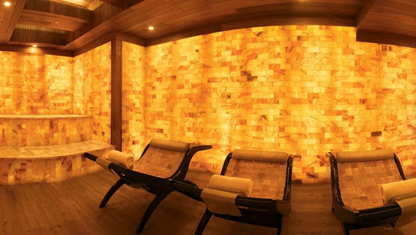 The soothing Himalayan Sea Salt Halotherapy Lounge at the spa.