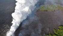Faster-moving Hawaii lava gushes into sea