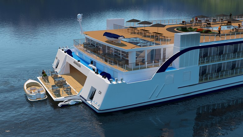 The AmaMagna's water sports platform will have a small touring boat for excursions.
