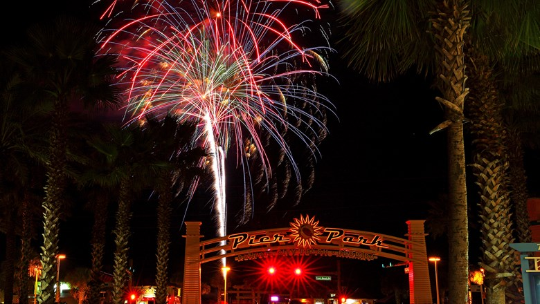 Fourth of July fireworks above Pier Park in Panama City Beach.
