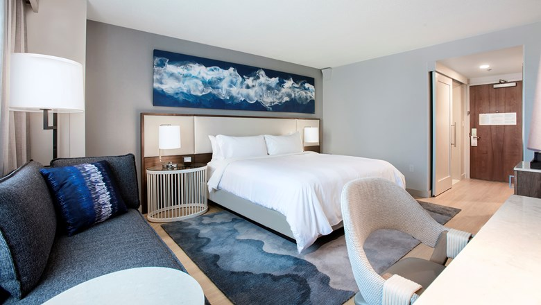 A newly refreshed room at the Tampa Marriott Waterside Hotel & Marina.