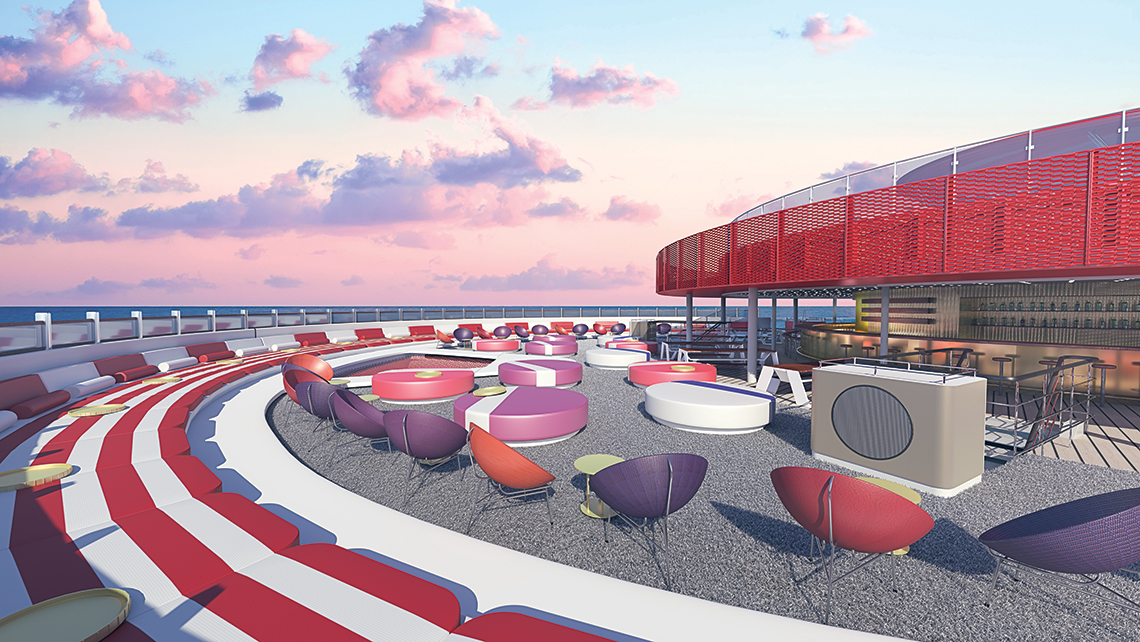 The Athletic Club's semicircular lounger is described as the largest daybed at sea.