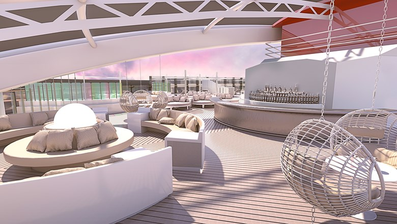 The exclusive Richard's Rooftop will have a futuristic look, with circular loungers and accents of dichroic glass.