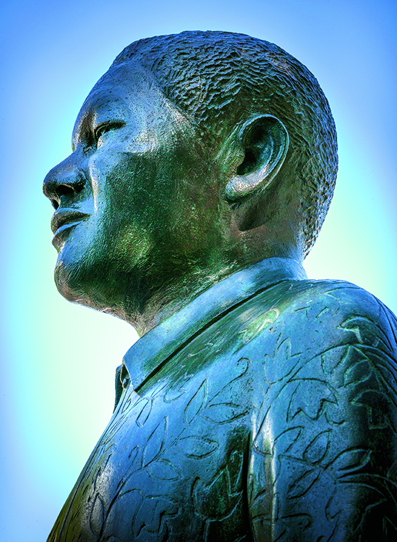 A statue of Nelson Mandela in Nobel Square at the V&A Waterfront in Cape Town.