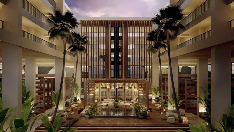 Rendering of the redesigned atrium planned for Mauna Lani, Auberge Resorts Collection.
