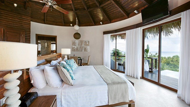 A guestroom at Casa Bonita, a luxury boutique hotel in Barahona province.