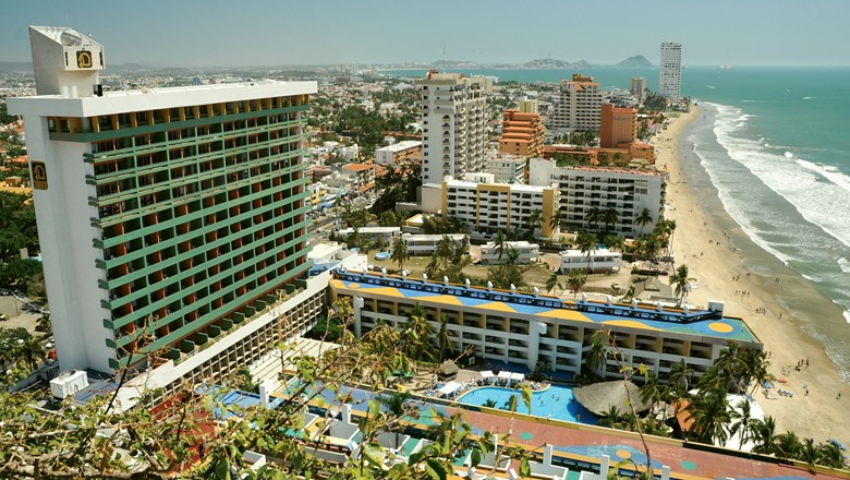 The 390-room El Cid El Moro Beach is located directly on the beach in Mazatlan's Golden Zone.