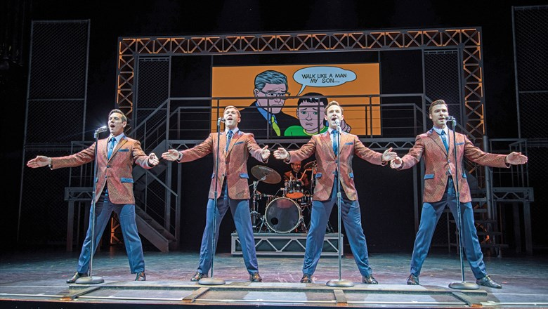 "Aboard the Norwegian Bliss, a video screen helps tell the story in ""Jersey Boys,"" an adaptation of the Broadway hit about the Four Seasons."