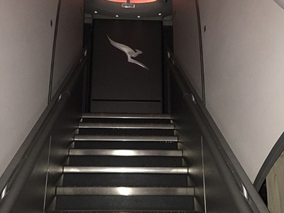 The front staircase on a Qantas A380.