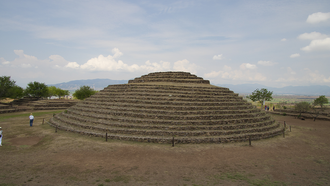 The main pyramid of the ruins of Guachimontones in Teuchitlan, about an hour outside Guadalajara. Structures at the archaeological site date to the fourth century B.C.