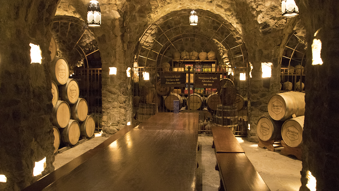 The cellar of La Rojena, Jose Cuervo's flagship distillery, in the town of Tequila. The cellar contains intact bottles of Cuervo tequila dating to the 1890s.