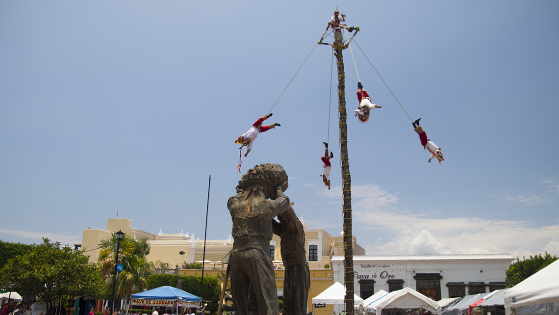 The flying pole dance in downtown Tequila's main plaza, a practice said to have orignated among the indigenous peoples of central Mexico.