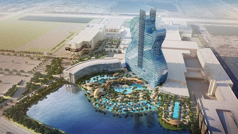 Artist's rendering of the guitar-shaped tower at the Seminole Hard Rock Hotel & Casino in Hollywood, Fla.