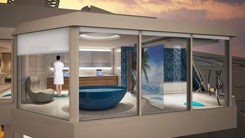 Family suite's bathroom on Spectrum of the Seas to hang over ship's side