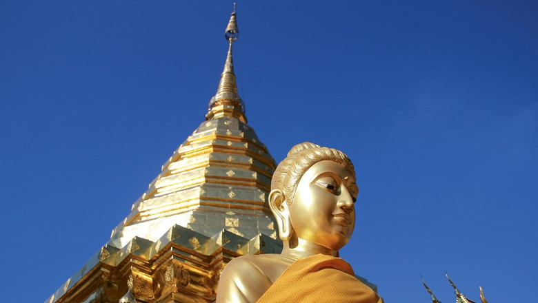 One of the scores of Buddha statues at the Wat Phra That Doi Suthep temple complex in Chiang Mai, Thailand.