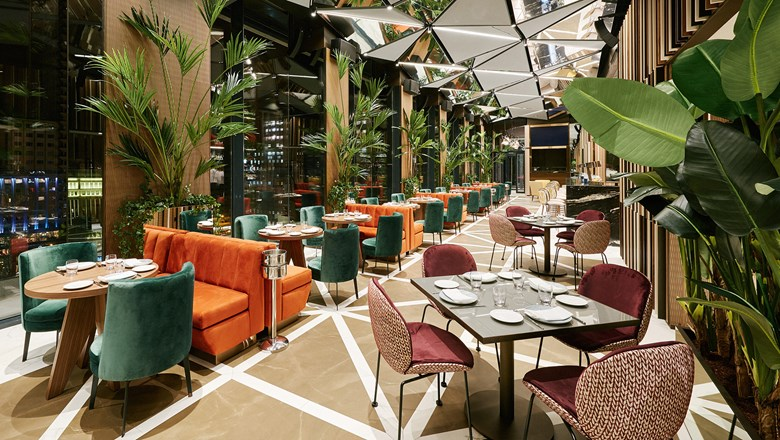 The Ginkgo Sky Bar & Restaurant at VP Plaza Espana Design in Madrid.