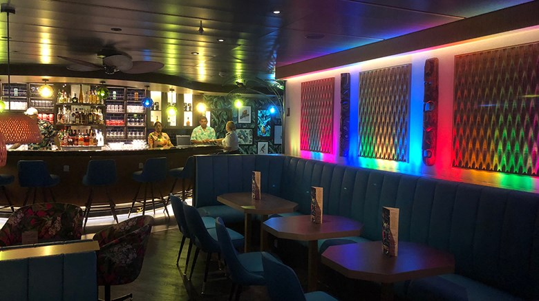 Royal Caribbean International's latest bar concept, the Bamboo Room, is a throw-back to the tiki bars that were popular after WWII. The bar, which seats 49 and has a Polynesian theme, was added to the Mariner of the Seas and will be retrofitted to most of the ships getting the Royal Amplified upgrade package, including the Navigator, Oasis and Allure of the Seas.