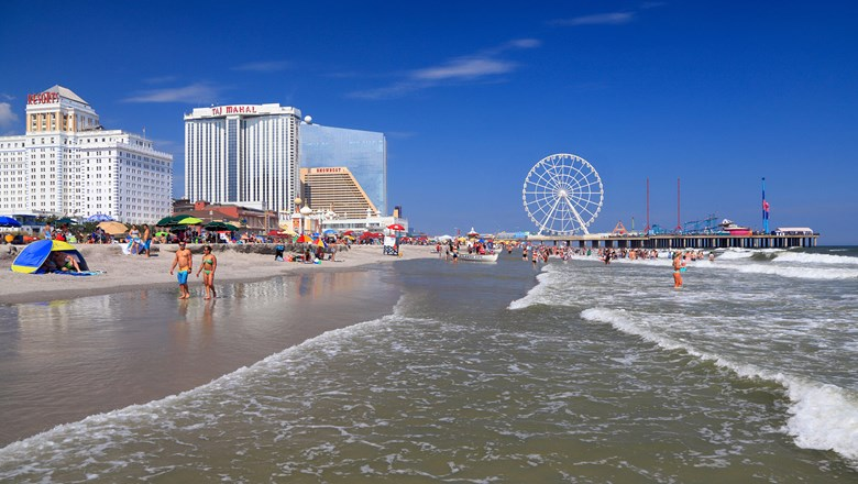 Atlantic City as shown in a stock photo from 2017. The Showboat casino is flanked by the former Taj Mahal, now occupied by a Hard Rock hotel, and the former Revel, now occupied by the Ocean Resort.