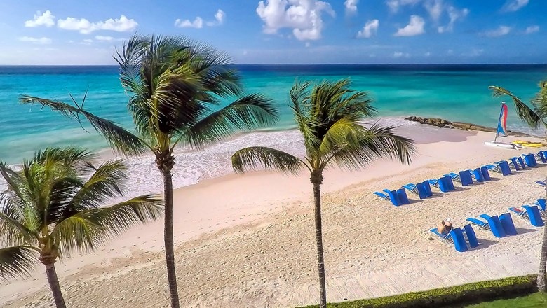 The beach at Sea Breeze Beach House in Barbados.