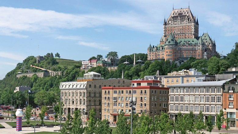 The Fairmont Le Chateau Frontenac hotel commands a bluff overlooking the St. Lawrence River.