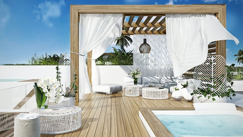 Rendering of a suite sundeck at the Turks Cay Resort & Marina.
