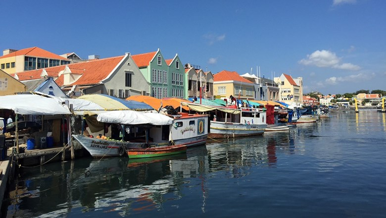 Fishing boats docked in Willemstad.