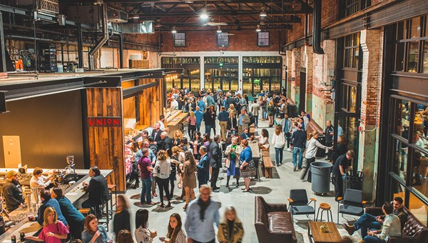 Tampa's Heights Public Market within Armature Works contains 13 food stalls and one major restaurant, Steelbach.