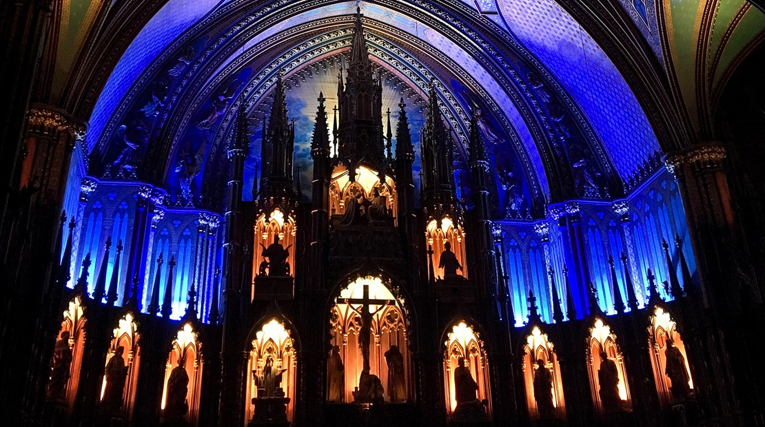 "The altar at the end of the ""Aura"" immersive audio-visual experience at Notre-Dame Basilica in Montreal."