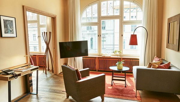 The 41-room Orania.Berlin is located in the colorful Kreuzberg neighborhood. Pictured, an Orania.45 living room; the 45 refers to the room's size in square meters.