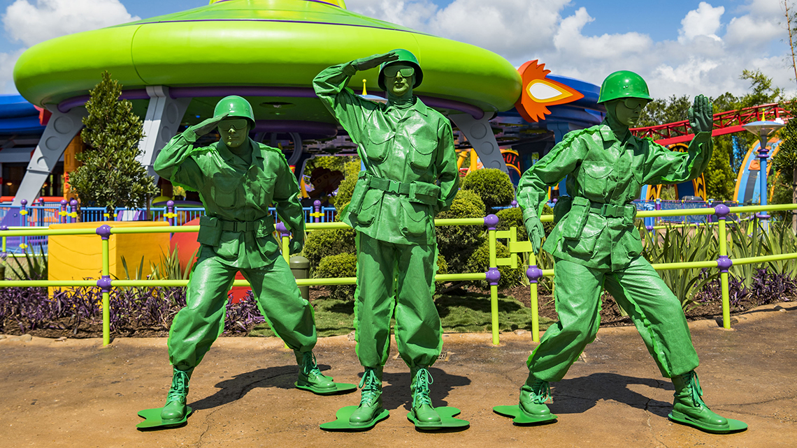 Green Army Men performers at Toy Story Land.