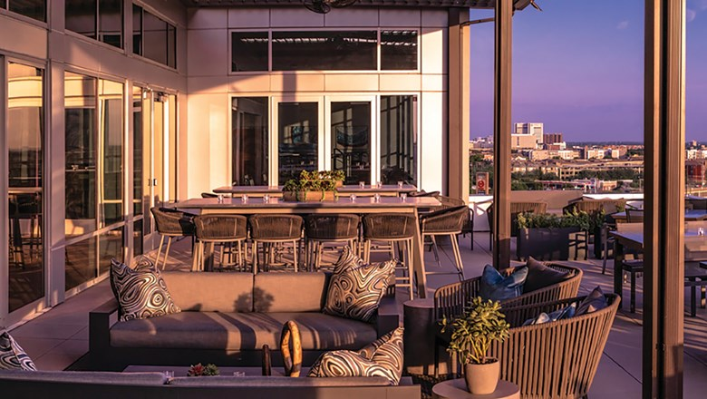The rooftop lounge at the Canopy by Hilton Dallas Uptown.