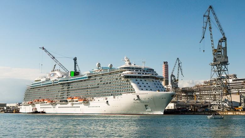 The Royal Princess, shown here in the Monfalcone shipyard in 2013, was the first of the current class of Princess Cruises ship. The new class, also to be built at Fincantieri's Monfalcone yard, will be 20% bigger.