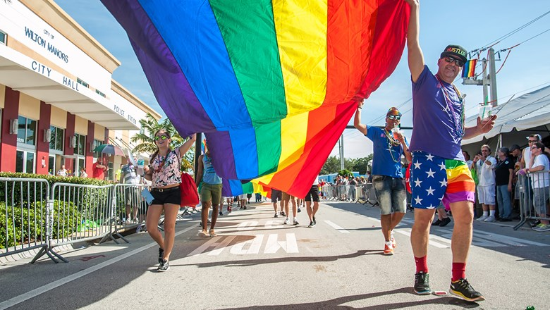 A rainbow banner makes it way through Wilton Manors during the 2017 Pride parade.