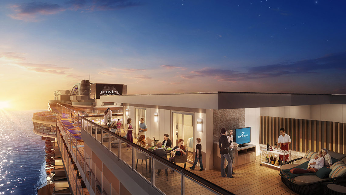 On the Sky Princess, the Sky Suites will be centrally located on the top decks and feature the largest private balconies ever offered by Princess Cruises.