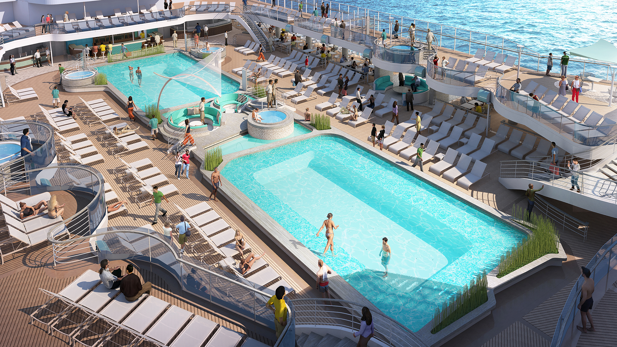 Sky Princess guests will enjoy two deep-tank top deck pools and more Jacuzzis than previous Royal class ships.