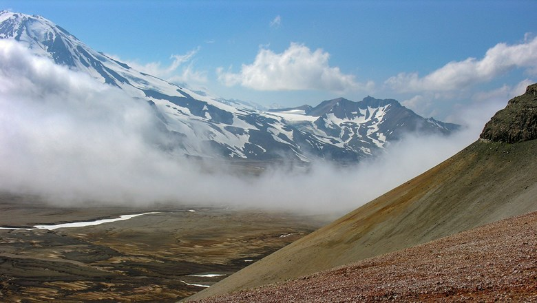 The Valley of Ten Thousand Smokes is covered in ash flow left from the 1912 Novarupta volcanic event.