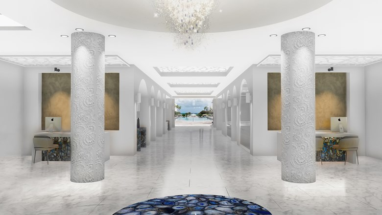 Rendering of the entry at Anguilla's CuisinArt Golf Resort & Spa, which plans to reopens Nov. 1.