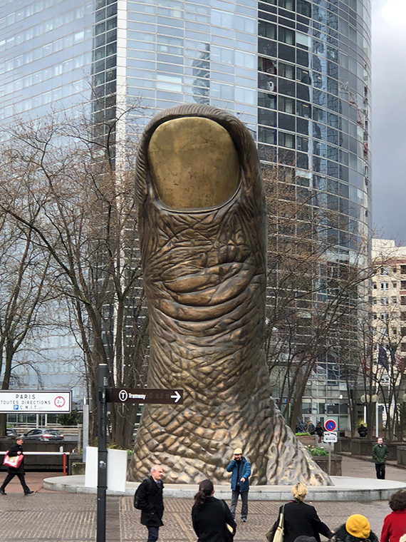 """Thumb,"" by Cesar is one of several pieces of street art on display throughout Paris' La Defense district."