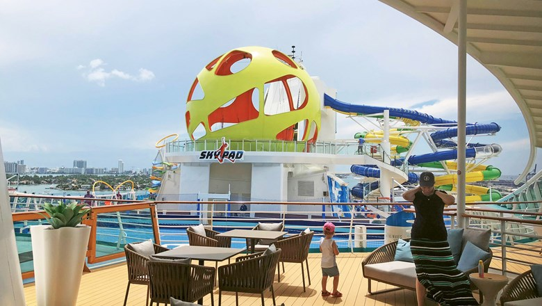 The Skypad is a new bungee/trampoline/virtual reality attraction on the top deck of the renovated Mariner of the Seas.