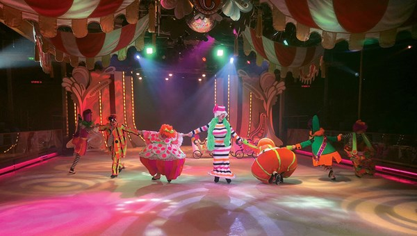 "The Mariner of the Seas features a new ice show, ""Ice Under the Big Top,"" in Studio B."