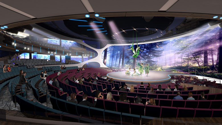 The Celebrity Edge's theater will extensively use moving platforms and video projection mapping.