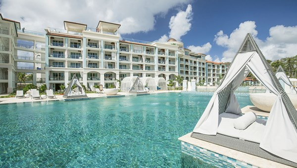 The main pool at the Sandals Royal Barbados, which opened in December.