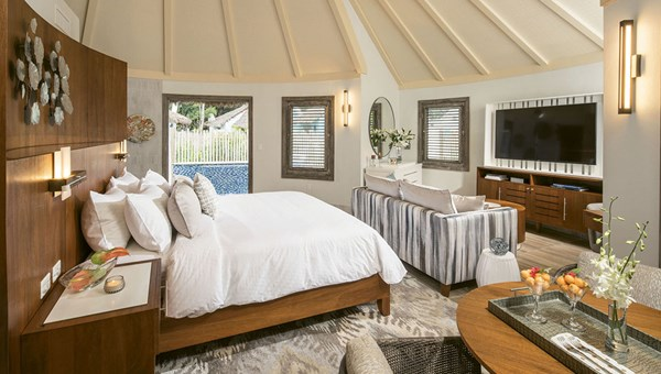 The resort's South Seas Royal Rondoval Butler Suite. Guests at the couples-only Royal have access to the amenities at the neighboring Sandals Barbados and vice versa.