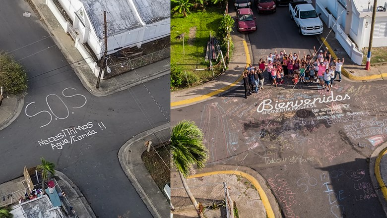 "The residents of Humacao, Puerto Rico, painted an S.O.S. sign (on left) on a street after Hurricane Maria last year. To mark the recovery progress made since then, a new sign in Spanish now says ""Welcome."""
