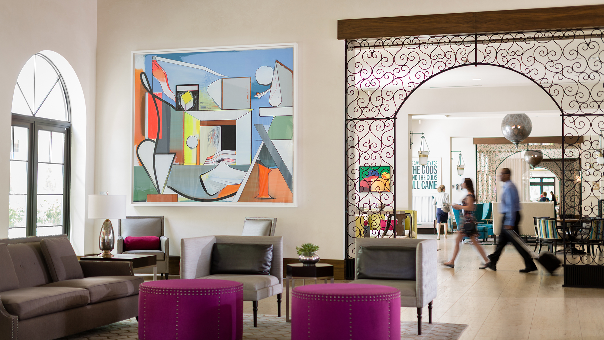 Spanish architecture melds with contemporary art in the Alfond Inn's lobby.