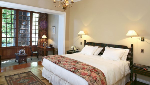 A guestroom at the Hotel Casa Real, a 16-room property that was built by the founder of the Santa Rita Winery as a second home.