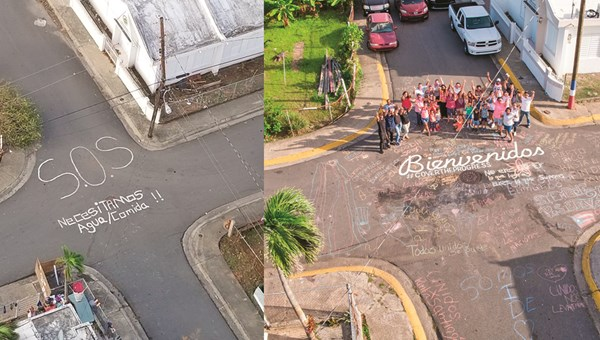 "Photos of the same corner in Puerto Rico help illustrate the island's recovery from Hurricane Maria. The earlier image is an SOS asking for food and water. The later photo says ""welcome"" in Spanish and includes the #covertheprogress hashtag."
